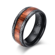 David Kabel Retro 8mm Black Tungsten Carbide Ring Wide 8mm Hawaii koa wood ring standard US carving men's rings dropshipping(China)
