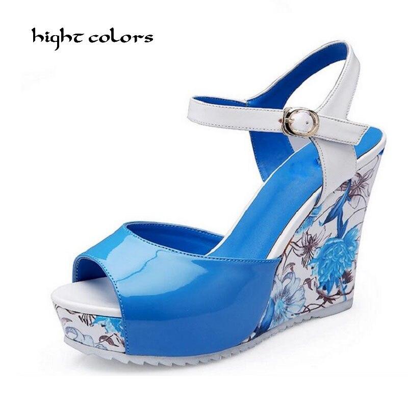 Size 30-43 Women Sandals 2017 Summer New Open Toe Fish Head Fashion platform High Heels Wedge Sandals female shoes women HC55<br>