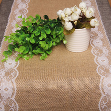 2PCS/Lot Burlap Hessian With Lace Band Crochet Table Runner Wedding Party Home Table Decor Tablecloths Sale Table Lines