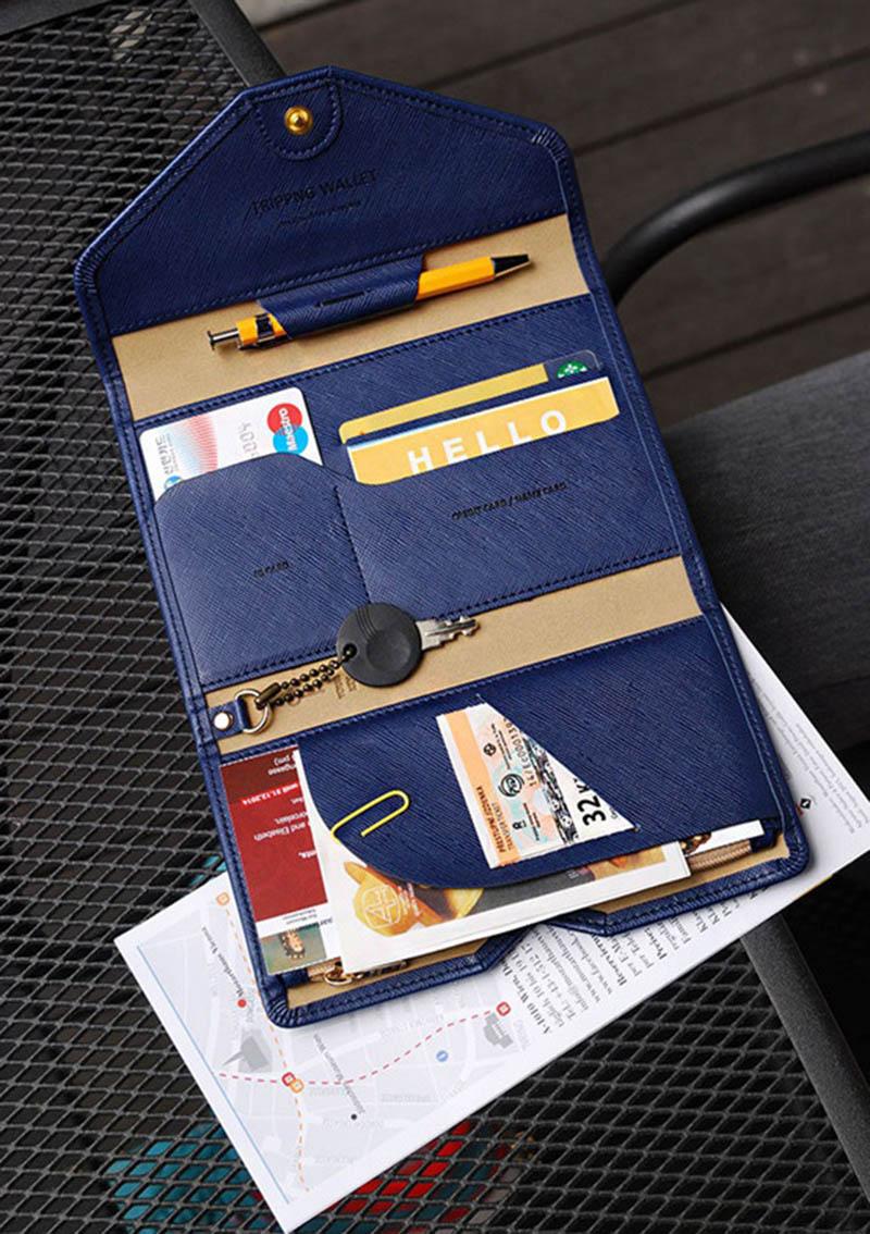 Reispaspoort Cover Opvouwbare Creditcardhouder Geld Portemonnee ID Multifunctionele Documenten Vlucht Bit Licentie Portemonnee Tas PC0045 (2)