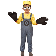 New Arrival Boys Minion Cosplay Costume Kids Jumpsuit Glasses Lovely Suit Set Halloween Birthday Gift Performance Free Shipping(China)