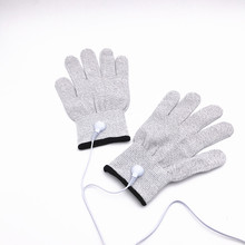 Anti-static Anti-skid breathable fiber hand electrotherapy massage conductive electrode gloves for tens therapy massager machine