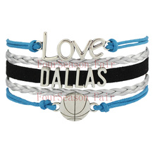 Customizable- Infinity Love DALLAS basketball Team Bracelet blue black silver Wristband friendship Bracelets -Drop Shipping