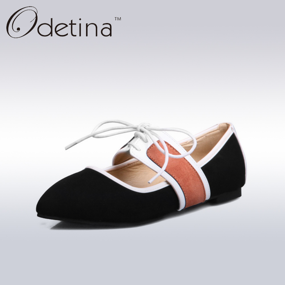 Odetina Black Suede Pointed Toe Women Ballerina Flat Shoes Fashion Patchwork Ladies Spring Flats Non-slip Woman Mary Jane Shoes<br><br>Aliexpress