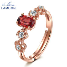 LAMOON 2017 new arrival 925 Sterling Silver Ring  with S925  100% Natural Oval Red Garnet For Women LMRI045