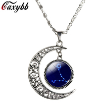Caxybb Virgo Gemini Scorpio Libra12 Constellation  Necklace Vintage  moon Accessories Chain Necklace For Women gift N-M93