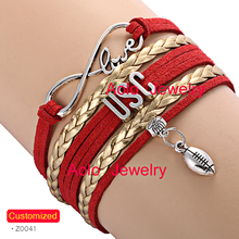 6Pcs/Lot USC Football Infinity Bracelet RED/GOLD Make Your Own Design Free Shipping