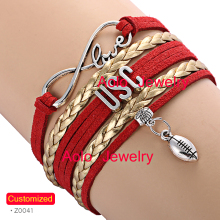 6Pcs/Lot USC Football Infinity Bracelet RED/GOLD Make Your Own Design Free Shipping(China)