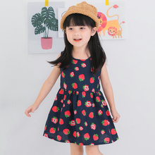 Baby Girls Dress Brand Summer Beach Style Strawberr Print Party  Dresses For Girls Vintage Toddler Girl Clothing 2-8T