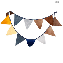 Hot 3.1m Creative Brown Colour Felt Banners Birthday party Bunting Decor Indian Camping Garland Halloween Decoration