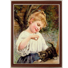 Golden Panno,Needlework,DIY DMC Cross stitch,Sets For Embroidery kit 14ct unprinted cotton thread Playful Kitten Cross-Stitching(China)