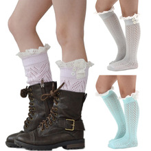 2015 New Soft Kids Girls Winter Warm Knitted Lace Leg Warmers Top Quality Trim Boot Cuffs High Knee Socks