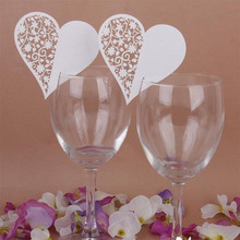 50pcs/set Wedding Table Decoration Place Cards/Wedding Party Decoration Laser Cut Heart Floral Wine Glass Place Cards