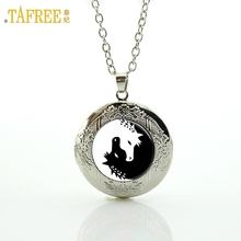 TAFREE Yin Yang Horse Necklace Black and White Glass Cabochon Unicorn Art Picture Animal locket Pendant Necklace Jewelry N432(China)