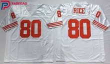 Embroidered Logo Jerry Rice 80 red white black throwback high school FOOTBALL JERSEY for fans gift cheap 1106-6(China)