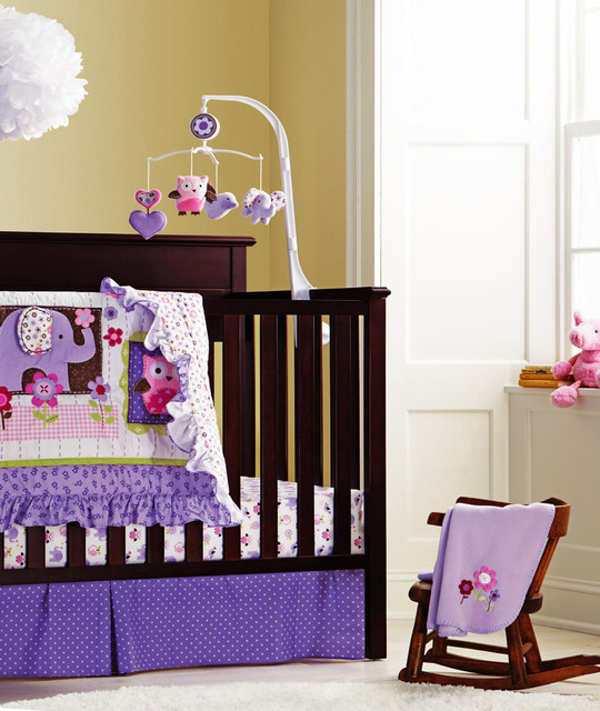 7 Pieces Baby Bedding Set Purple Embroidery Elephant Owl Crib 100