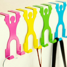 Human Shaped Stainless Over Door Hooks Kitchen Cabinet Draw Clothes Holder Hanger Hooks Rails Home Storage Tools