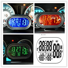 DC12V -24V 4 in 1 Time Date Dual Temperature Auto Digital Car Thermometer Voltage Meter Monitor  Luminous Clock Freeze Alert XJ
