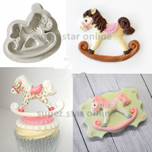 Sugar Buttons ROCKIG-HORSE Silicone Mould Cozinha Fondant Cake Molds Cupcake Candy Chocolate Confeitaria Kitchen Accessories