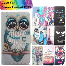 Fashion 11 Colors Cartoon Painting PU Leather Magnetic clasp Wallet Cover For Sencor Element P503 Case