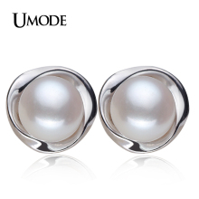 UMODE 100% Genuine Brand Pearl Jewelry Natural Pearl Earrings For Women And Girls 925 Sterling Silver Stud Earring Gift AE0023(China)