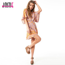 Buy Jastie Floral Print Boho Mini Dress V-Neck Flare Sleeve Waist Hollow Sexy Dress 2017 Summer Casual Beach Short Women Dresses for $40.43 in AliExpress store