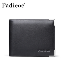 Padieoe Original Designer Men's Business Wallet New Metal Purse for Male Brand High Quality Men Genuine Leather Card Holder