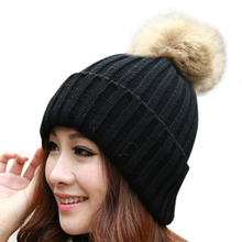 Hats for women Candy Beanie Knitted Caps Crochet Hat Rabbit Fur Pompons Ear Protect Casual Cap Chapeu Feminino 63