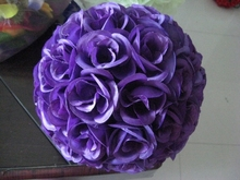 Hot 15cm wedding silk kissing ball meeting place decoration Purple -plastic inner,celebration flower ball,party decoration
