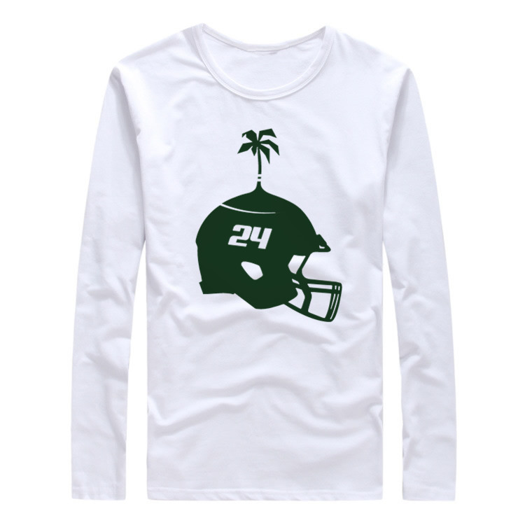 2017 Autumn Winter New York #24 Darrelle Revis Logo Men T-Shirt Long Sleeve Tees T SHIRT Men's Jets Helmet Logo Mark W1030002(China (Mainland))