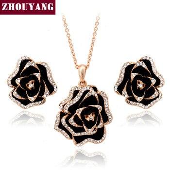 Top Quality ZYS317 Florescendo Rosas Rose Banhado A Ouro Brinco Colar Conjuntos Conjuntos de Jóias Rhinestone Feito com Cristais Austríacos