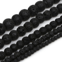 "Naturral Black Volcanic Lava Stone Beads Wholesale DIY Jewelry Bracelet Making 4 6 8 10 12mm 15.5"" Round Beads"