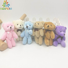 New arrival 8cm Stuffed Animals Plush Mini Teddy bear With Bow Mini Urso De Pelucia Oso Joint Bare Bear Bouquet Pacakge 20 Pcs(China)