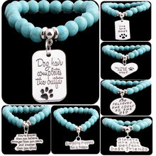 Fashion Xmas Elastic Beads Bracelet Chain Paws Pet Dog Tags Women Men Gifts Charm Bangle Pendant Charm Bracelets