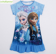 Anna Elsa Dress Children Clothing Summer Dresses Girls Baby Pajamas Costume Princess Nightgown Vestidos Infantis Clothes kid050