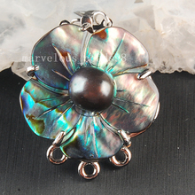 Free shipping Fashion JewelryNatural New Zealand Ablone Shell Art Clasp use to 3 Row Necklace MC3657(China)