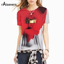 Raisevern New Fashion Rihanna Anti 3D Sublimation Print 3d T Shirt Top Harajuku Summer Style T-shirt 3d Full Printing Tee Tops(China)