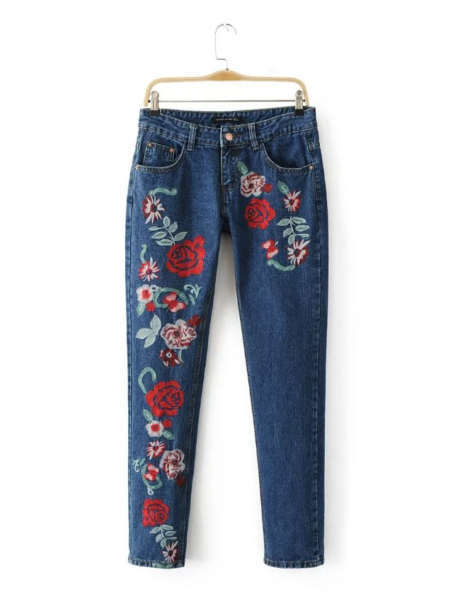 Colorful Floral Embroidery Jeans Women Casual Cotton Blue Black Denim Trousers Straight Pants High Waist Long Zipper Jeans FemmeОдежда и ак�е��уары<br><br><br>Aliexpress