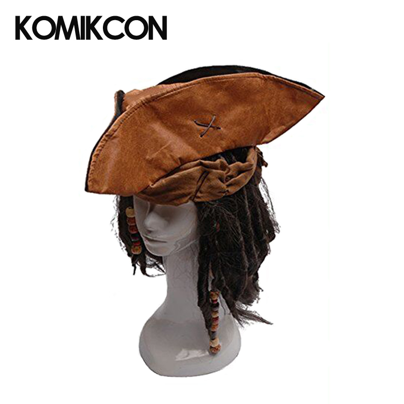 Jack Caribbean Sparrow Tricorn Pirate Hat Buccaneer Beads Dreadlock Hair Costume