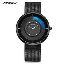 SINOBI Man Watch Quartz Wristwatches Top Brand Ultra Thin Stainless Steel Mesh Band Creative Rotate Dial Male Luxury Watches