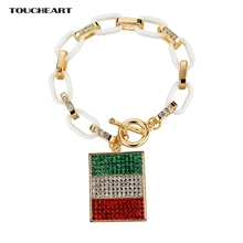 TOUCHEART Crystal Italy Flag Charms Bracelets Bangles For Women Classic Gold color Friendship Bracelet Jewelry Sbr150387