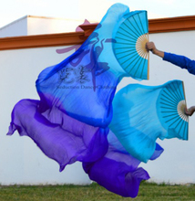 2016 High selling 100% Real Silk Veils 1 Pair handmade women Quality Silk Belly Dance Fan Dance  turquoise blue purple 180*90 cm