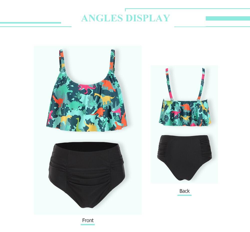 Dinosaur Print High Waist Bikini Set