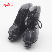 "1Pair Black Boots for 18"" 45CM American Girls Dolls, fashion skating sport shoes for Alexander doll accessory baby girl gift(China)"