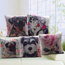 New Arrival good quality Dog hold the rose linen cushion/ pillow /cushion cover/pillowcase for sofa ( not including filling)