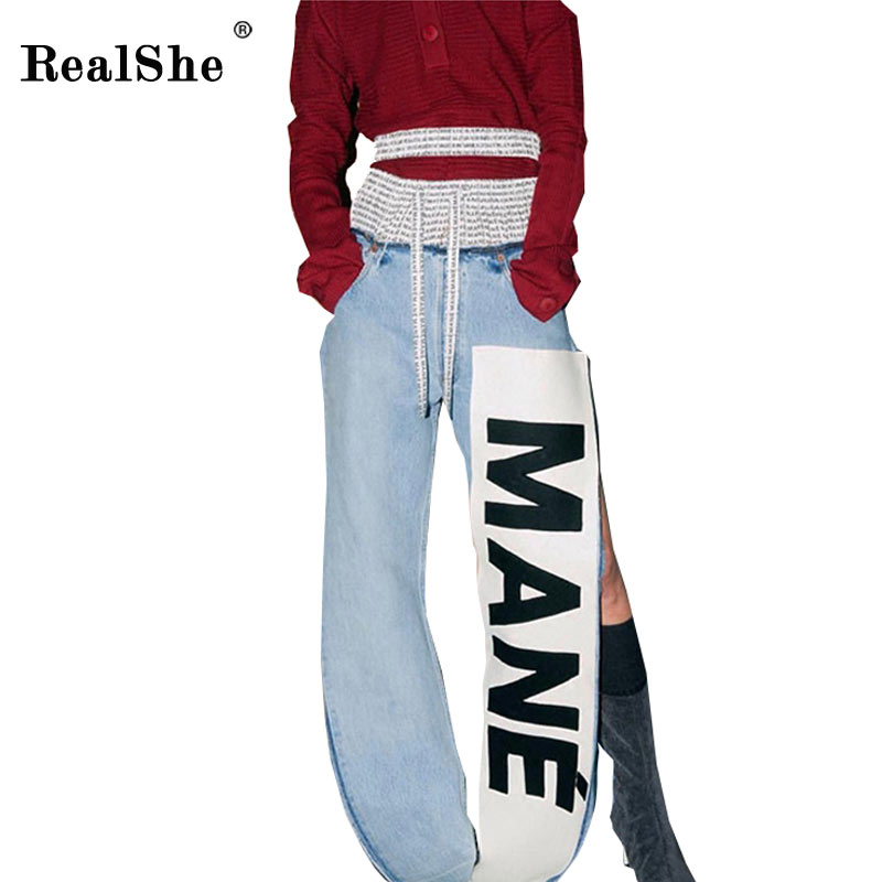 RealShe Women Slit Jeans femme Fashion Female 2017 Ladies Blue Denim Pants Casual Words Print Ties Brand Fashion PantsÎäåæäà è àêñåññóàðû<br><br>