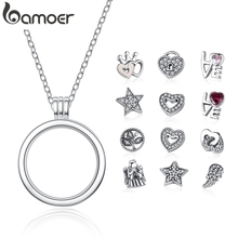 BAMOER Pendants Locket Jewelry Necklaces Floating Sterling-Silver Petite Memories PSF001