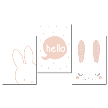 GZCJHP Kawaii Bunny Head Wall Art Canvas Poster Animal Cartoon Rabbit Nursery Print Painting Wall Picture Nordic Kid Bedroom(China)