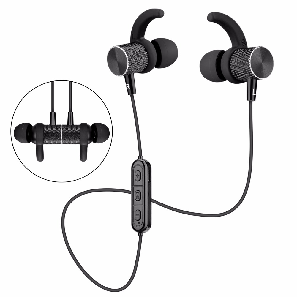 SOONHUA Bluetooth Headphone V4.1 Sports Sweatproof Earphone Wireless Magnetic Automatic Turning on/off Headset for Mobile Phone