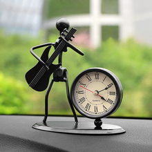Retro Guitar Bass Music Iron Man Car Electronic Clock Car Ornaments Car Styling Accessories Furniture Desk Bookshelf Article(China)